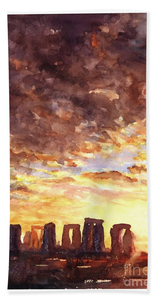 Ancient Beach Towel featuring the painting Stonehenge Sunrise by Ryan Fox