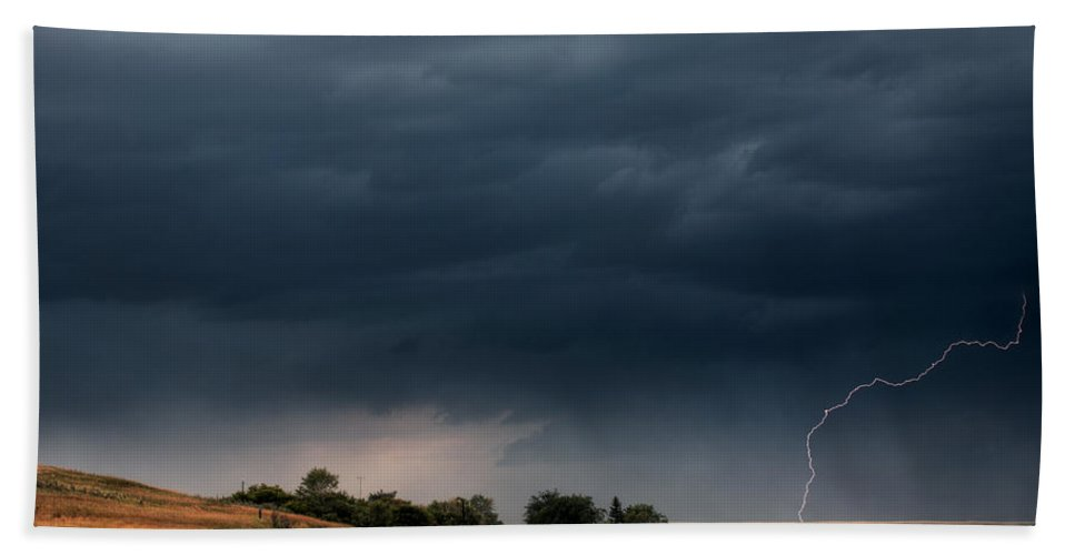 Roadside Beach Towel featuring the digital art Storm Clouds And Lightning Along A Saskatchewan Country Road by Mark Duffy
