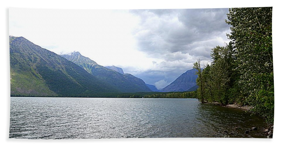 Lake Beach Towel featuring the photograph Storm Clouds Over Lake Mcdonald by Carol Groenen