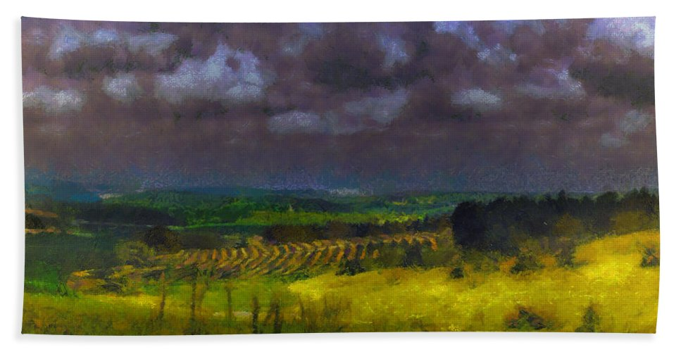 Landscape Beach Towel featuring the photograph Storm Clouds Over Meadow by Michael Goyberg
