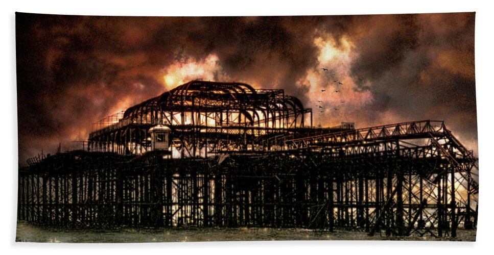Storm Beach Towel featuring the photograph Storm Over The West Pier by Chris Lord