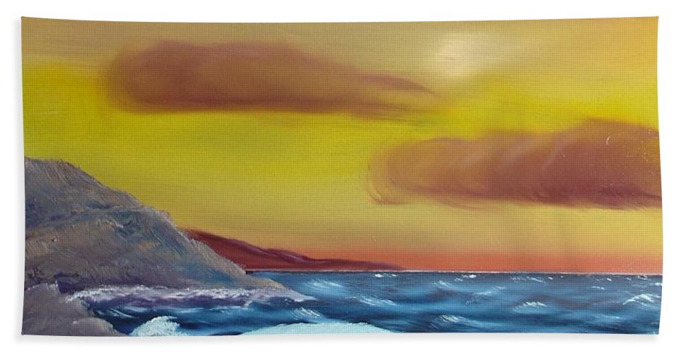 Painting Beach Towel featuring the painting Stormy Beach by Charles and Melisa Morrison