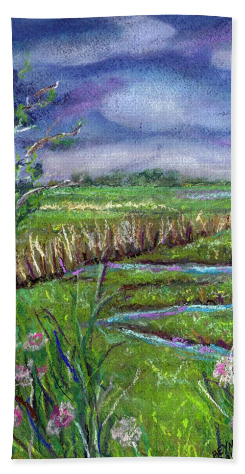 Pastel Beach Towel featuring the painting Stormy Wetlands by Clara Sue Beym