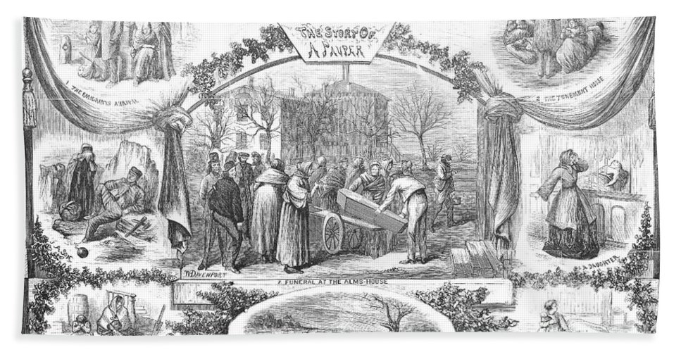 1868 Beach Towel featuring the photograph Story Of A Pauper, 1868 by Granger