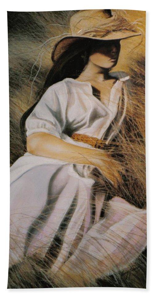 Field Beach Towel featuring the painting Straw Daze by Nancy M Garrett