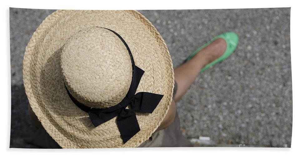 Woman Beach Towel featuring the photograph Straw Hat And Green Shoes by Mats Silvan