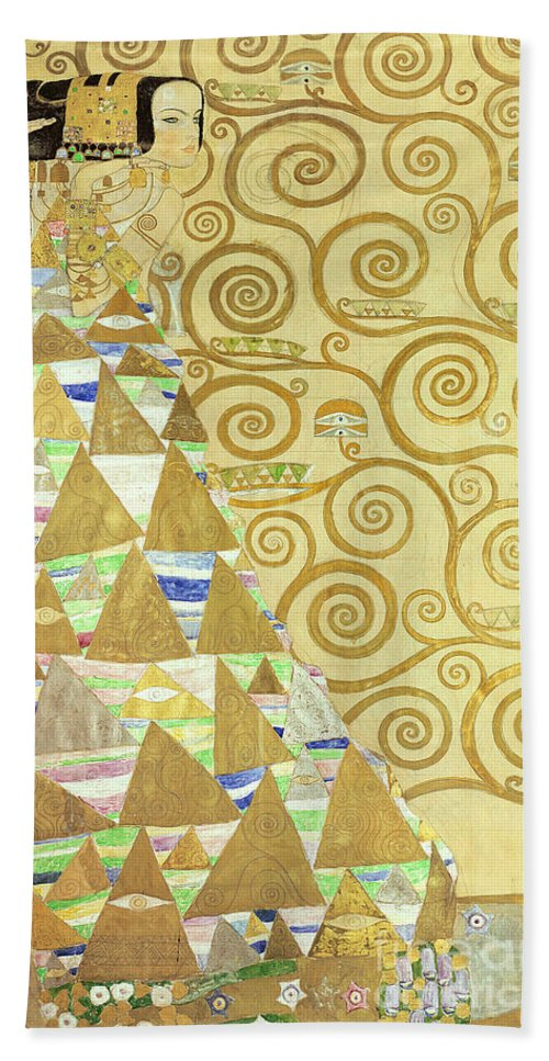 Study For Expectation Beach Towel featuring the painting Study For Expectation by Gustav Klimt
