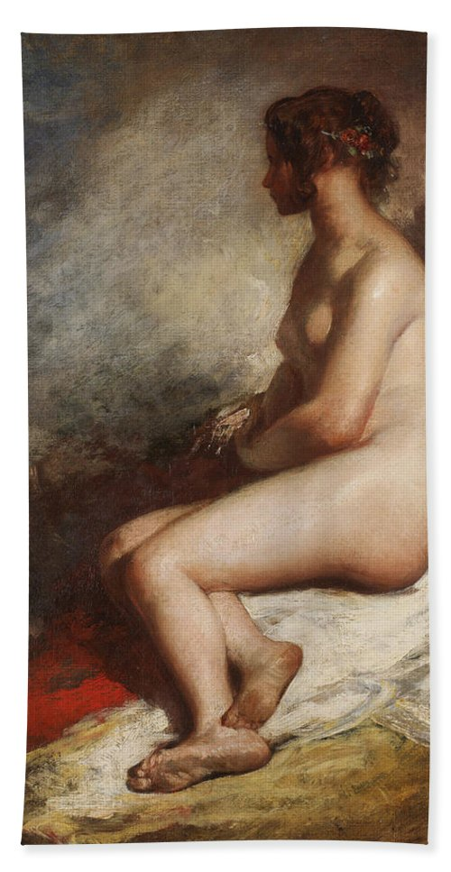 Nude Beach Towel featuring the painting Study Of A Seated Nude by William Etty