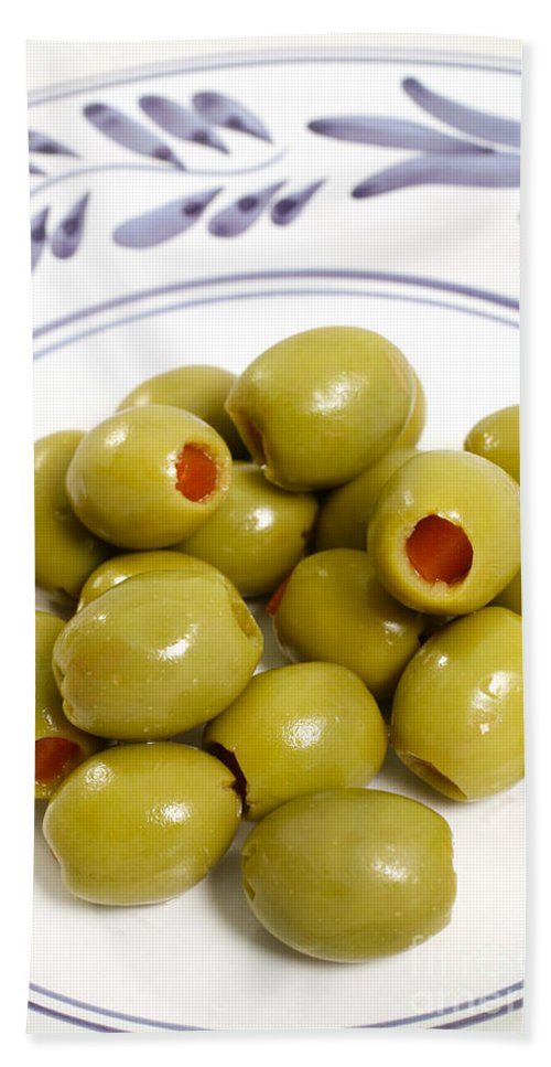Olives Beach Towel featuring the photograph Stuffed Green Olives by Gaspar Avila
