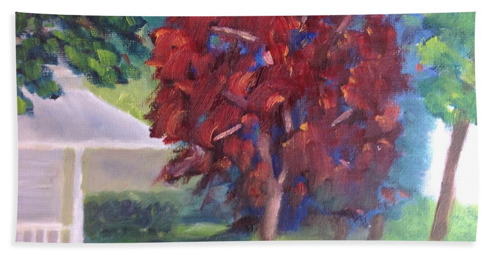 Landscape Beach Towel featuring the painting Suburban Landscape I by Patricia Cleasby