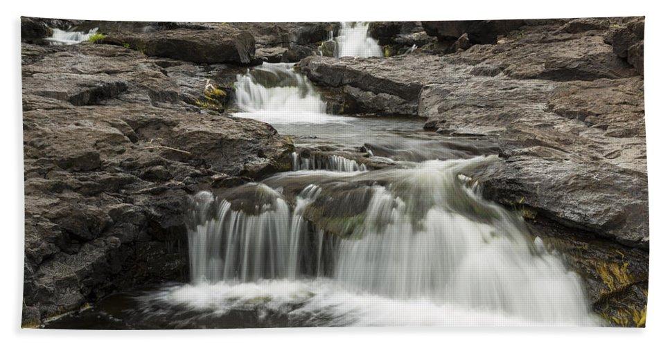 Waterfall Beach Towel featuring the photograph Sucker River Falls 2 G by John Brueske