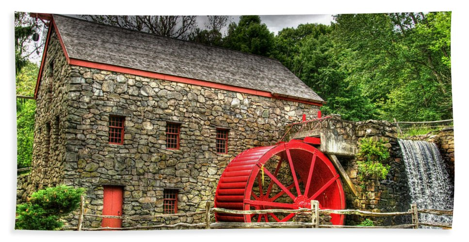 Sudbury Beach Towel featuring the photograph Sudbury - Storm Looms At The Grist Mill by Mark Valentine