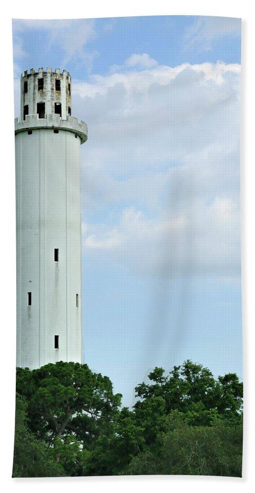 Sulfur Springs Water Tower Beach Towel featuring the photograph Sulfur Springs Water Tower by Carolyn Marshall