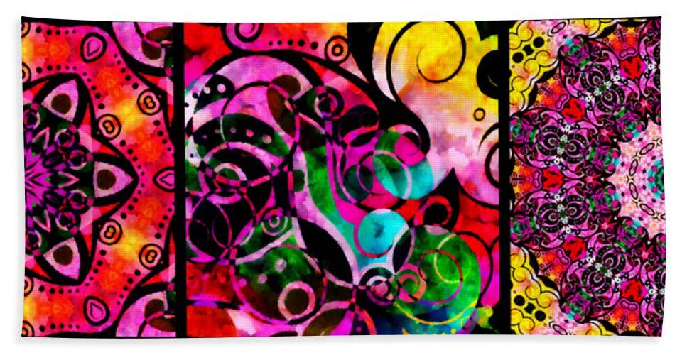 Summer Beach Towel featuring the mixed media Summer Introspection Of An Extrovert Triptych Horizontal by Angelina Vick