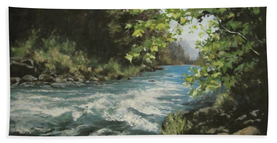 River Beach Towel featuring the painting Summer River by Karen Ilari