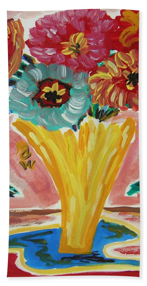 Flowers Beach Towel featuring the painting Summer Season 2012 Blooms by Mary Carol Williams