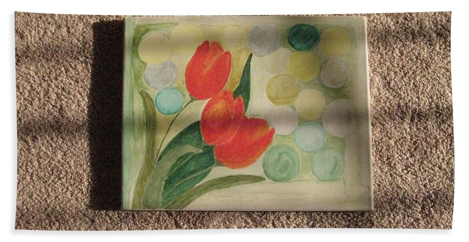 Reflection Of Sun Beach Towel featuring the painting Sun And Tulips by Sonali Gangane