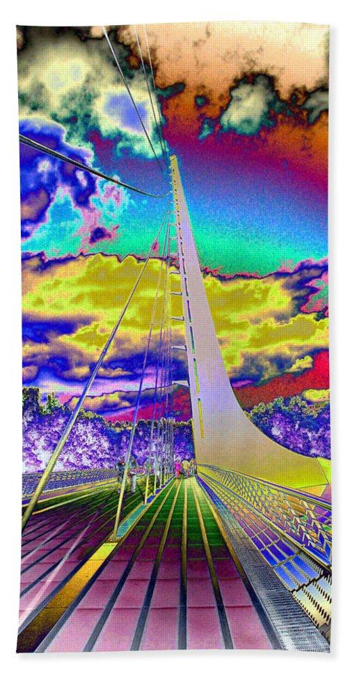 Bridge Beach Towel featuring the photograph Sun Dial Bridge Redding Ca  by Joyce Dickens