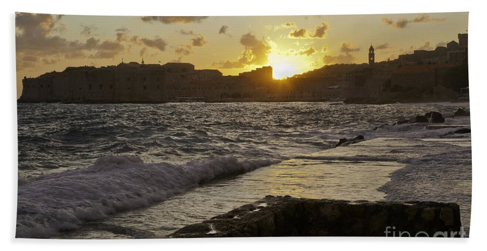 Sun Beach Towel featuring the photograph Sun Going Down Over Dubrovnik by Madeline Ellis