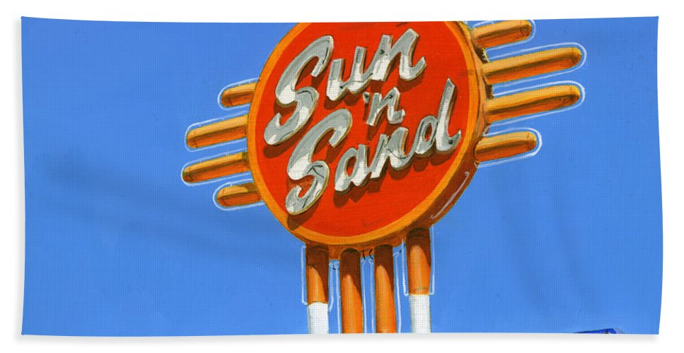 Neon-sign Beach Towel featuring the painting Sun 'n Sand by Rob De Vries