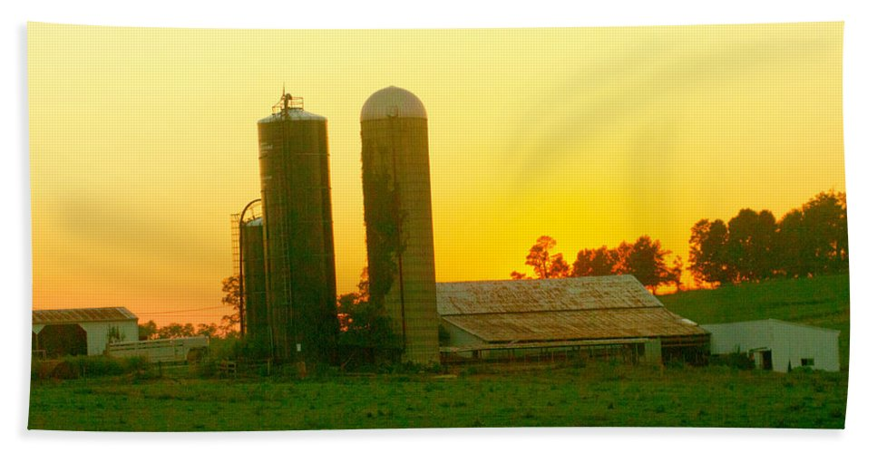 Farm Beach Towel featuring the photograph Sundown At The Ranch by Randall Branham