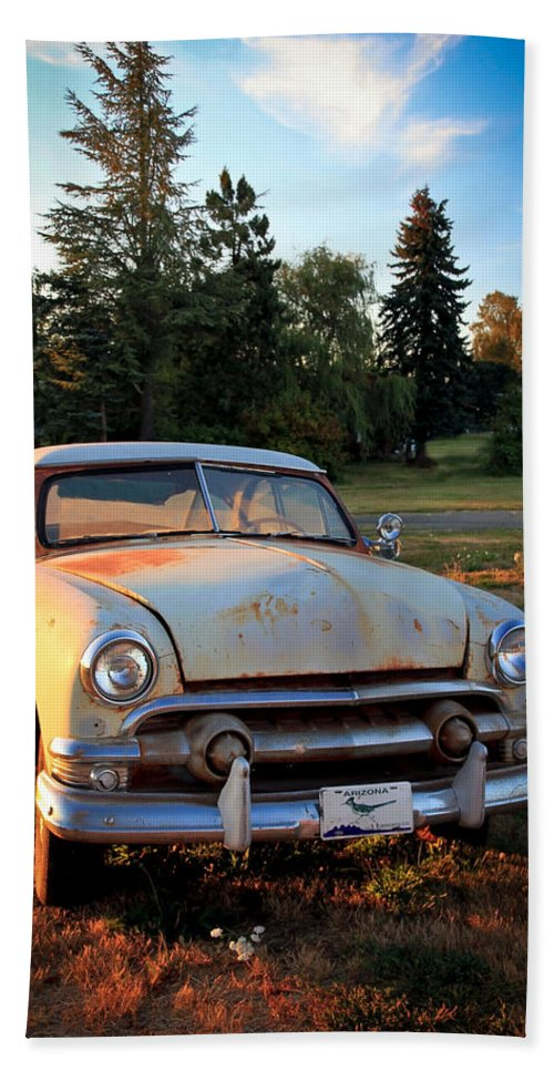 50 Chevy Beach Towel featuring the photograph Sundown Chevy by Athena Mckinzie