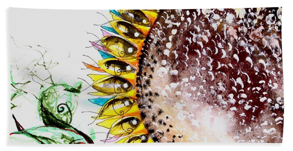 Beach Towel featuring the painting Sunflower Fish 3 by J Vincent Scarpace