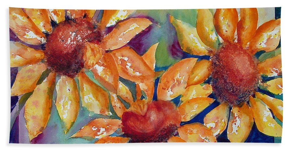 Sunflower Beach Towel featuring the painting Sunflowers by Dee Carpenter