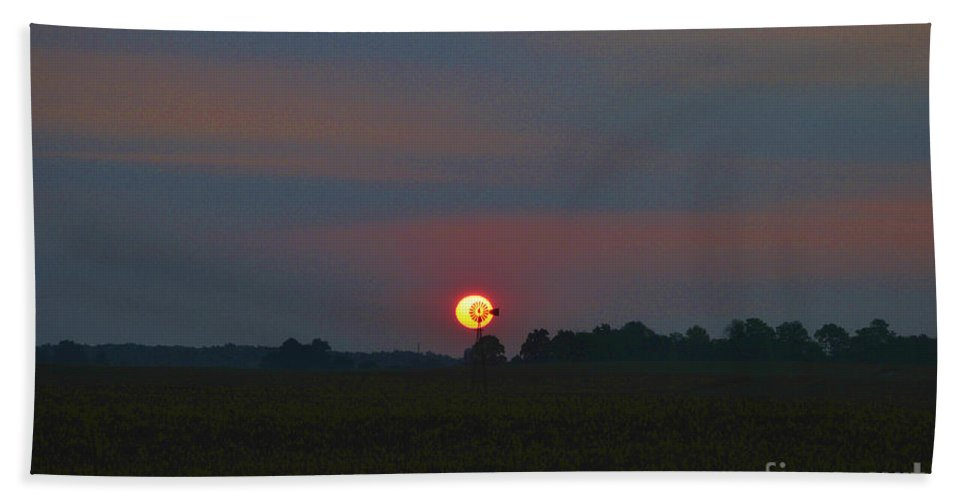 Windmill Beach Towel featuring the photograph Sunmill by David Arment