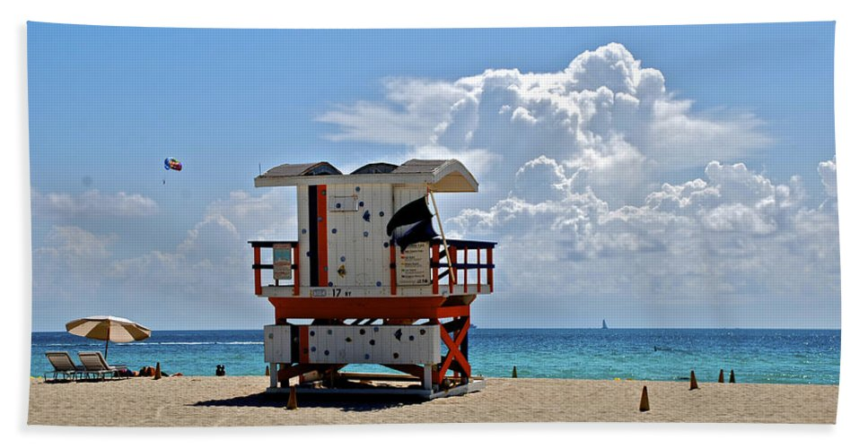 Miami Beach Beach Towel featuring the photograph Sunny Day Miami Beach by Eric Tressler