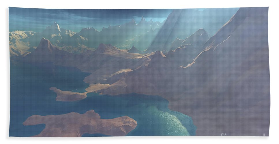 Beautiful Beach Towel featuring the digital art Sunrays Shine Down On This Image by Corey Ford