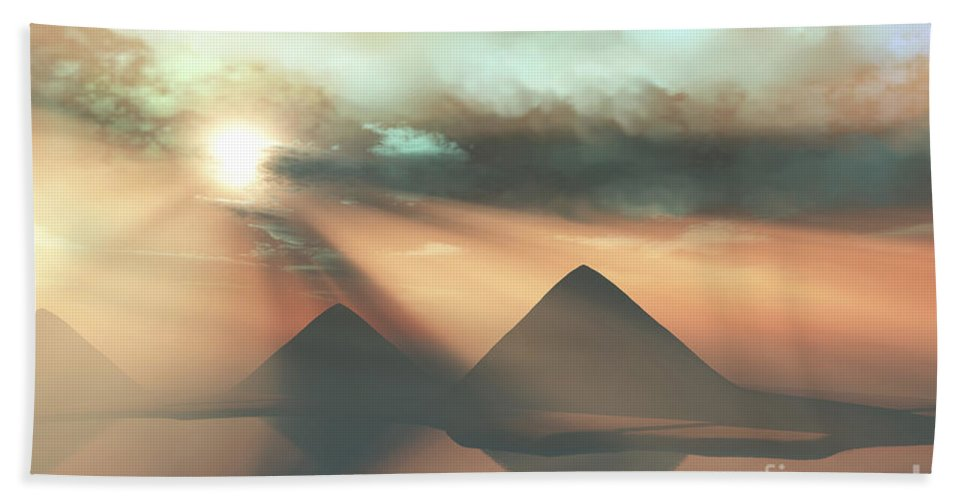 Pyramid Beach Towel featuring the digital art Sunrays Shine Down On Three Pyramids by Corey Ford