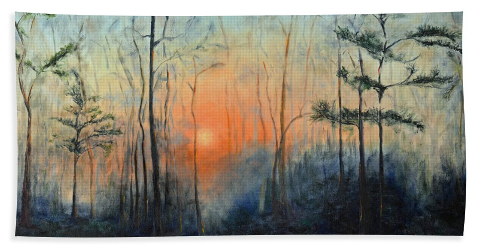 Sunrise Beach Towel featuring the painting Sunrise At Pike Road by Patricia Caldwell