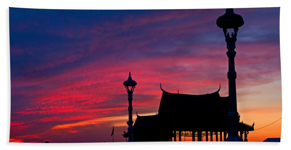 Asia Beach Towel featuring the photograph Sunrise At Sisowath Quay. by David Freuthal