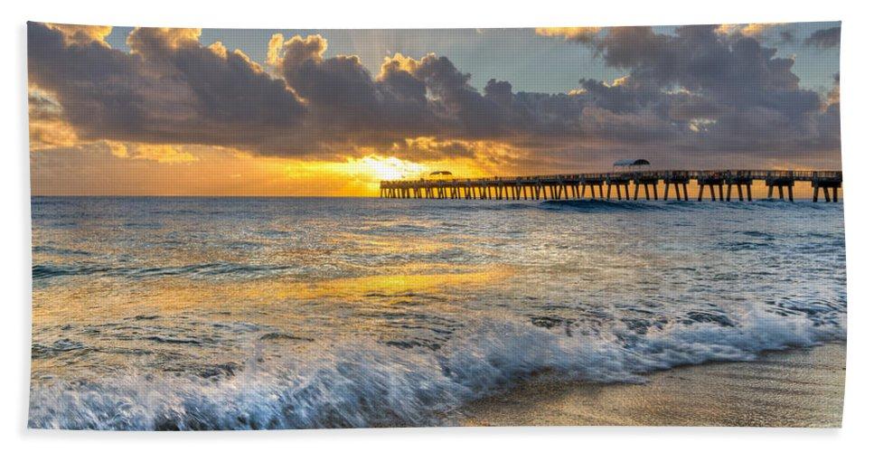 Atlantic Beach Towel featuring the photograph Sunrise Lights by Debra and Dave Vanderlaan