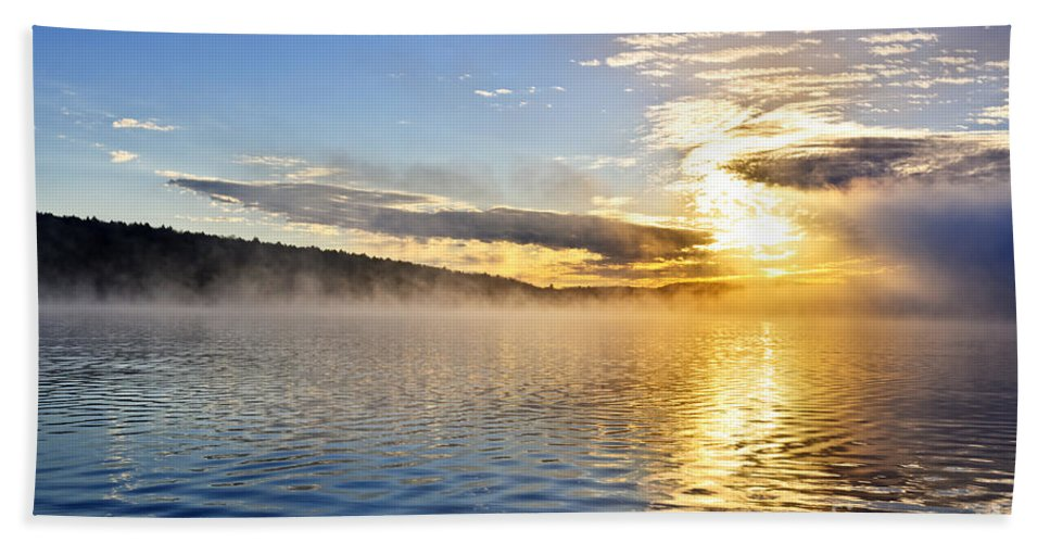 Sunrise Beach Towel featuring the photograph Sunrise On Foggy Lake by Elena Elisseeva