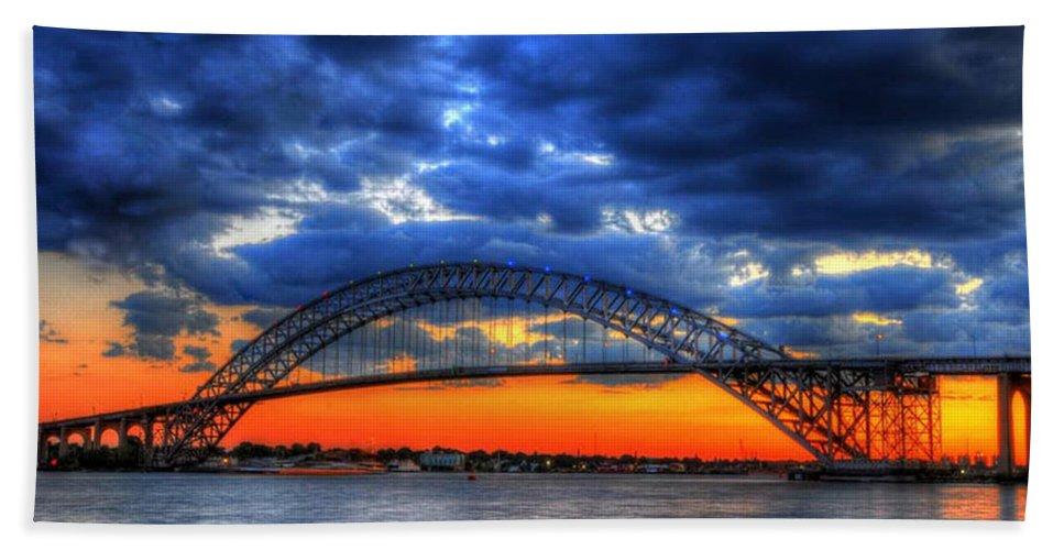 Sunset Beach Towel featuring the photograph Sunset At The Bayonne Bridge by Paul Ward