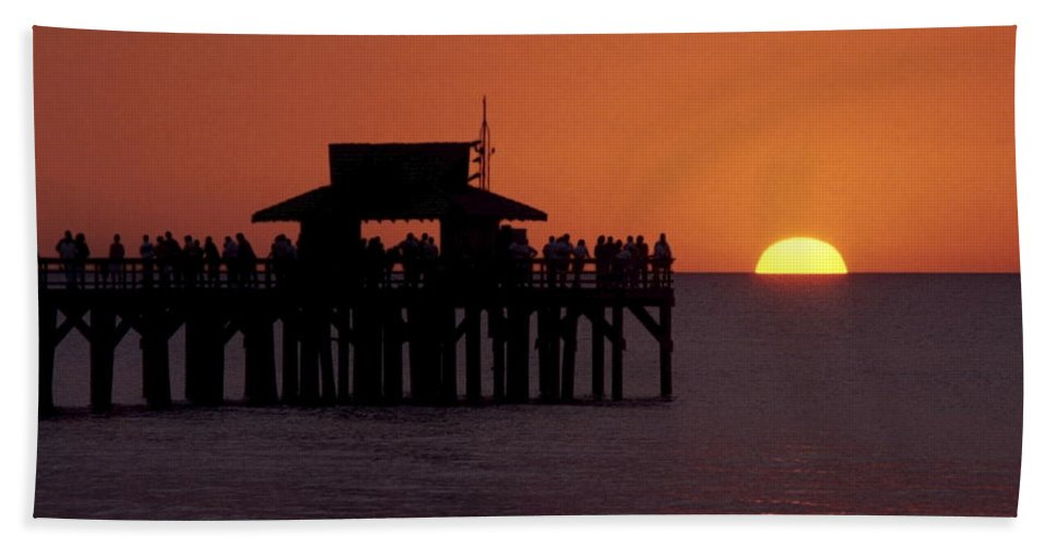 Naples Pier Beach Towel featuring the photograph Sunset At The Pier by Sally Weigand