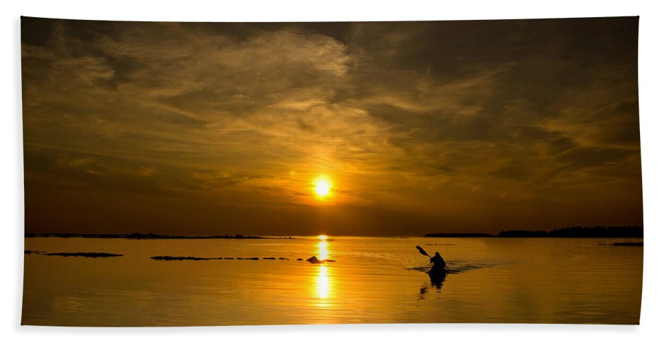 Lake Beach Towel featuring the photograph Sunset Kayak by Cale Best