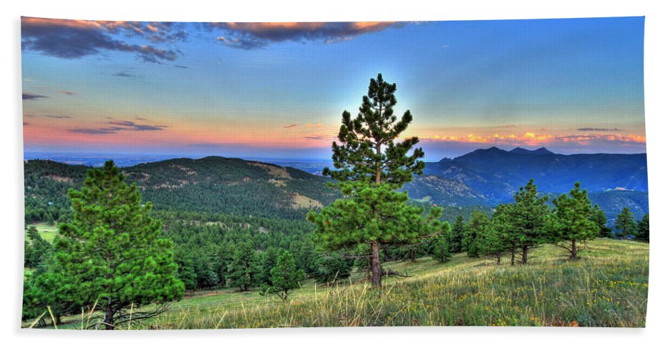 Colorado Beach Towel featuring the photograph Sunset Mountain by Scott Mahon