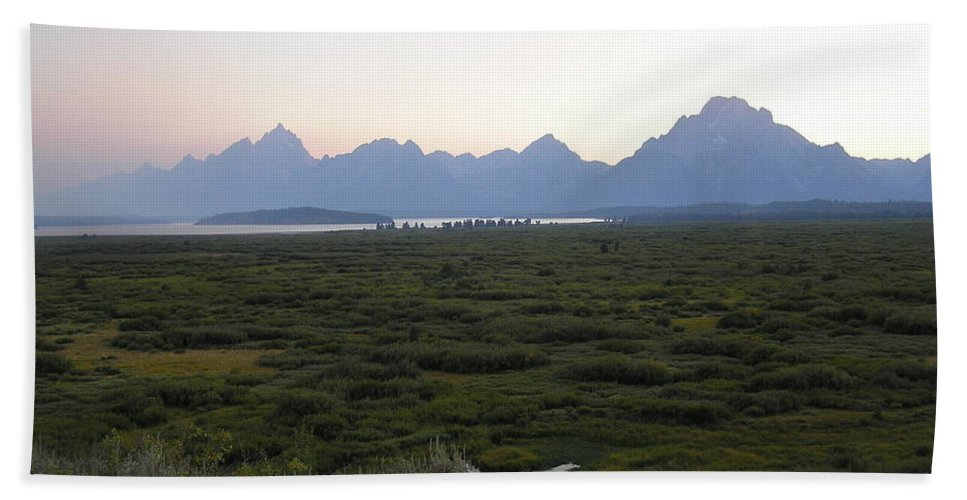Sunset Beach Towel featuring the photograph Sunset On Grand Teton by Michael MacGregor