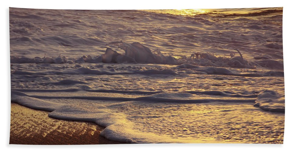 Artistic Beach Towel featuring the photograph Sunset On Small Wave by Vince Cavataio - Printscapes