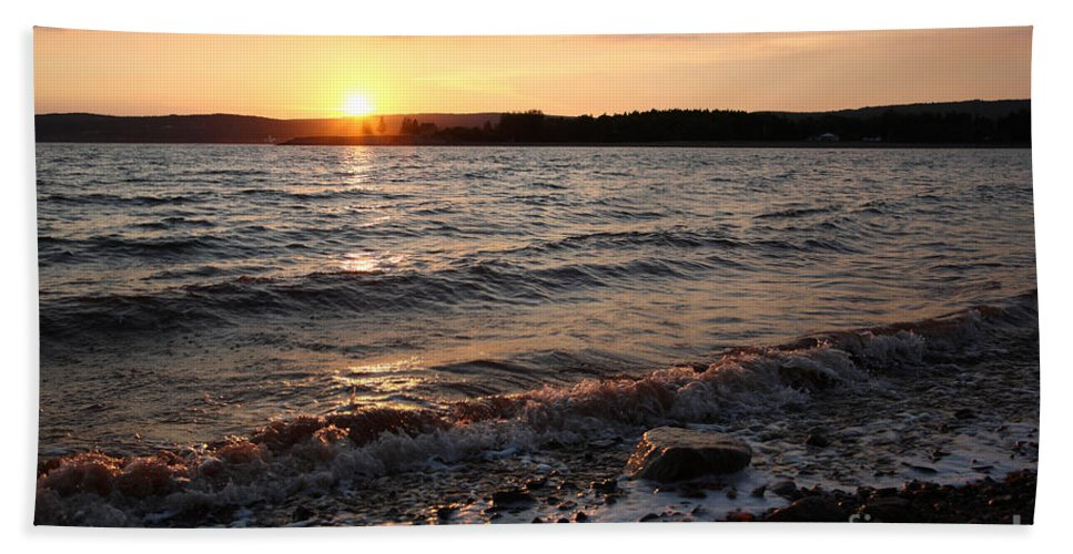 Intertidal Beach Towel featuring the photograph Sunset On The Bay Of Fundy by Ted Kinsman
