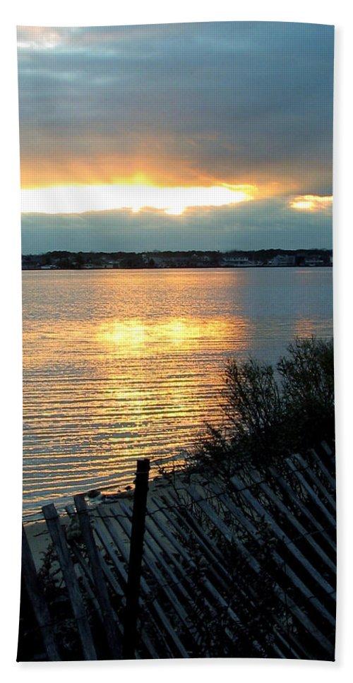 Sunset Beach Towel featuring the painting Sunset Over Cedar Creek by Clara Sue Beym