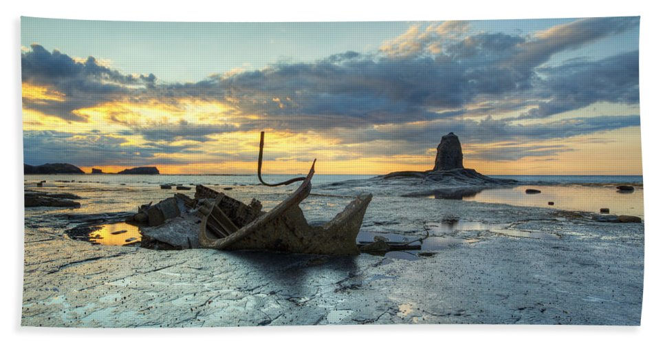Saltwick Beach Towel featuring the photograph Sunset Over The Admiral by Martin Williams