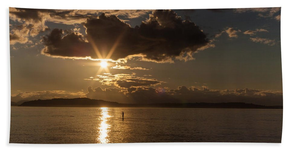 Sunset Beach Towel featuring the photograph Sunset Paddleboarder by Mike Reid
