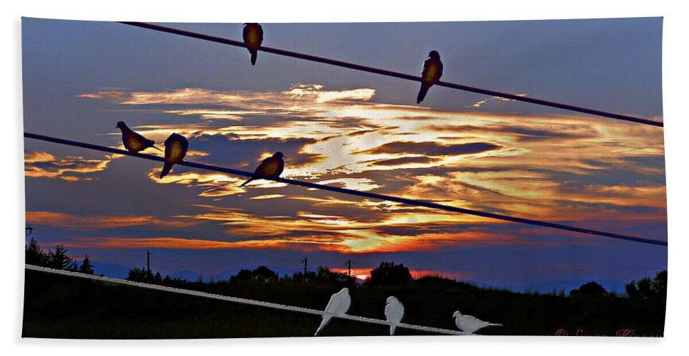 Birds Beach Towel featuring the digital art Sunsets And Birds by Susan Kinney