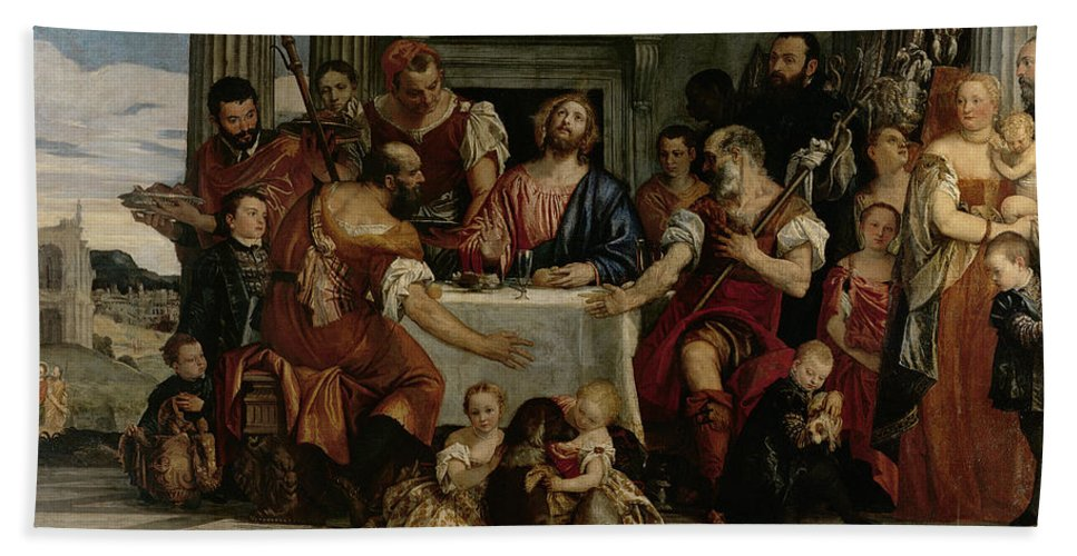 Supper At Emmaus Beach Towel featuring the painting Supper At Emmaus by Veronese