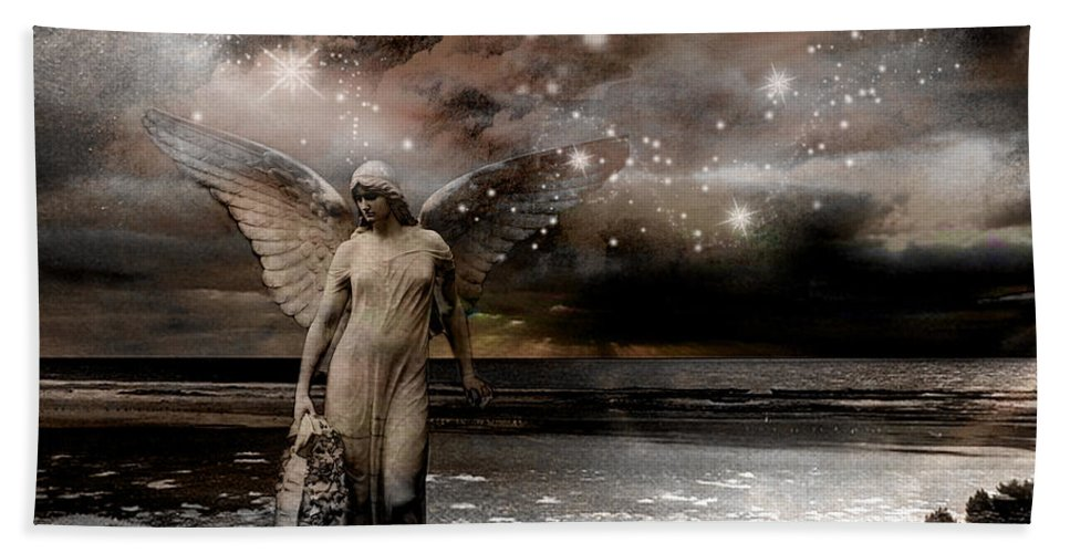 Angels Beach Towel featuring the photograph Surreal Angel Celestial Angel Stars - Celestial Angel Photography - Fantasy Angel Prints by Kathy Fornal