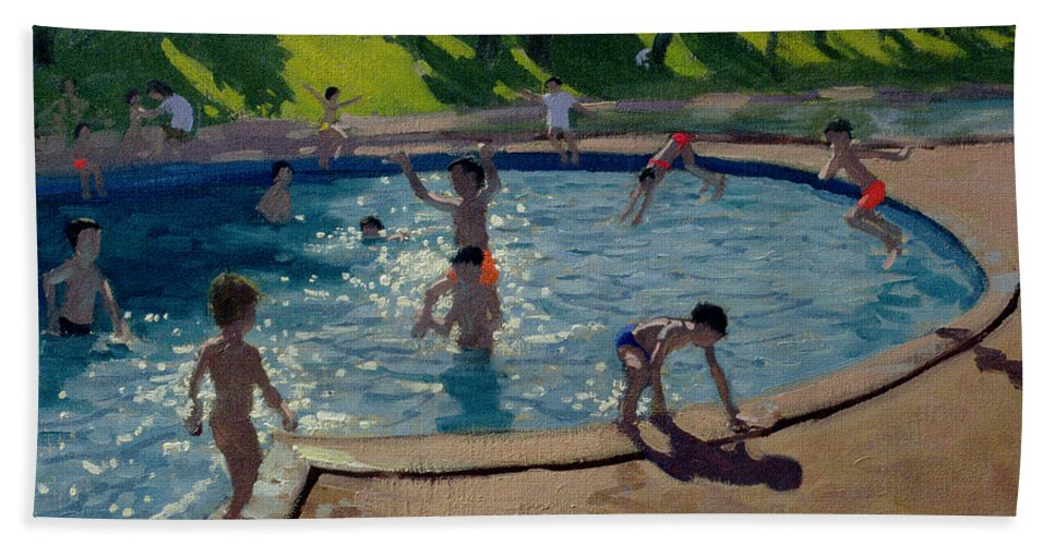 Summer Beach Towel featuring the painting Swimming Pool by Andrew Macara
